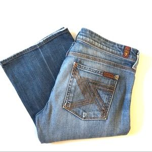 7FAM Flynt Blue Wash Jeans with Rhinestone Pockets